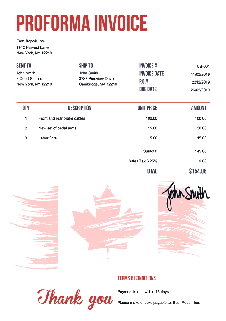 Proforma Invoice Template Us Flag Of Canada