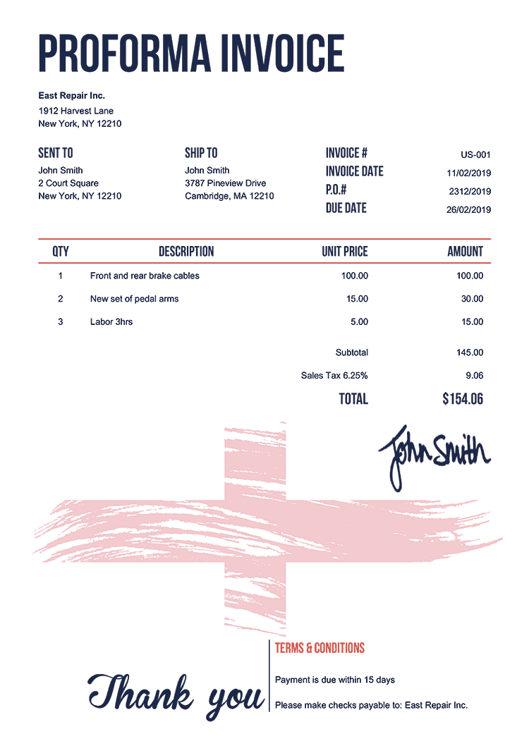 Proforma Invoice Template Us Flag Of England