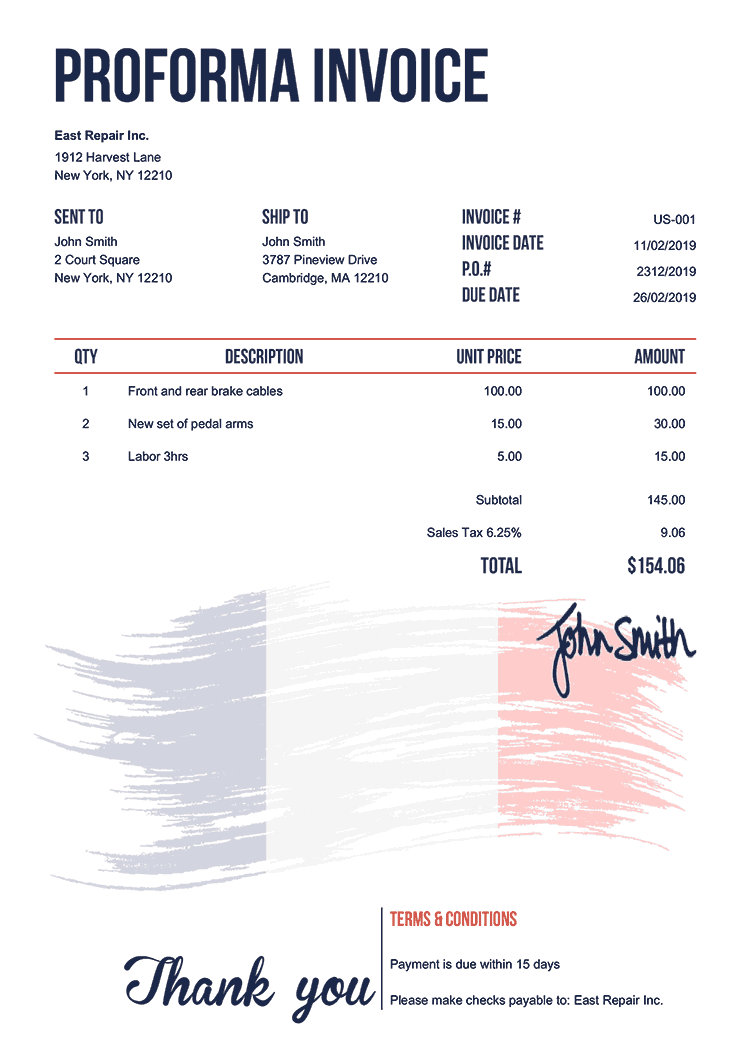 Proforma Invoice Template Us Flag Of France