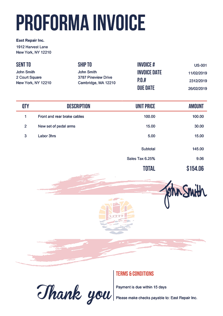 Proforma Invoice Template Us Flag Of French Polynesia