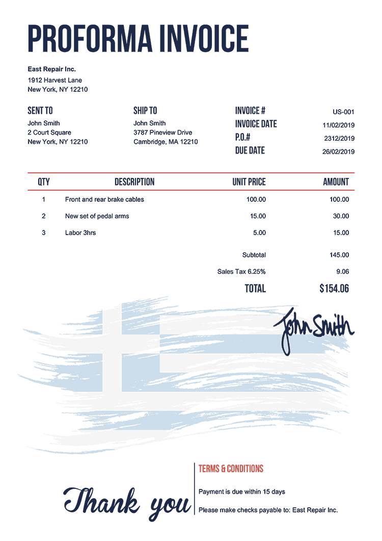 Proforma Invoice Template Us Flag Of Greece