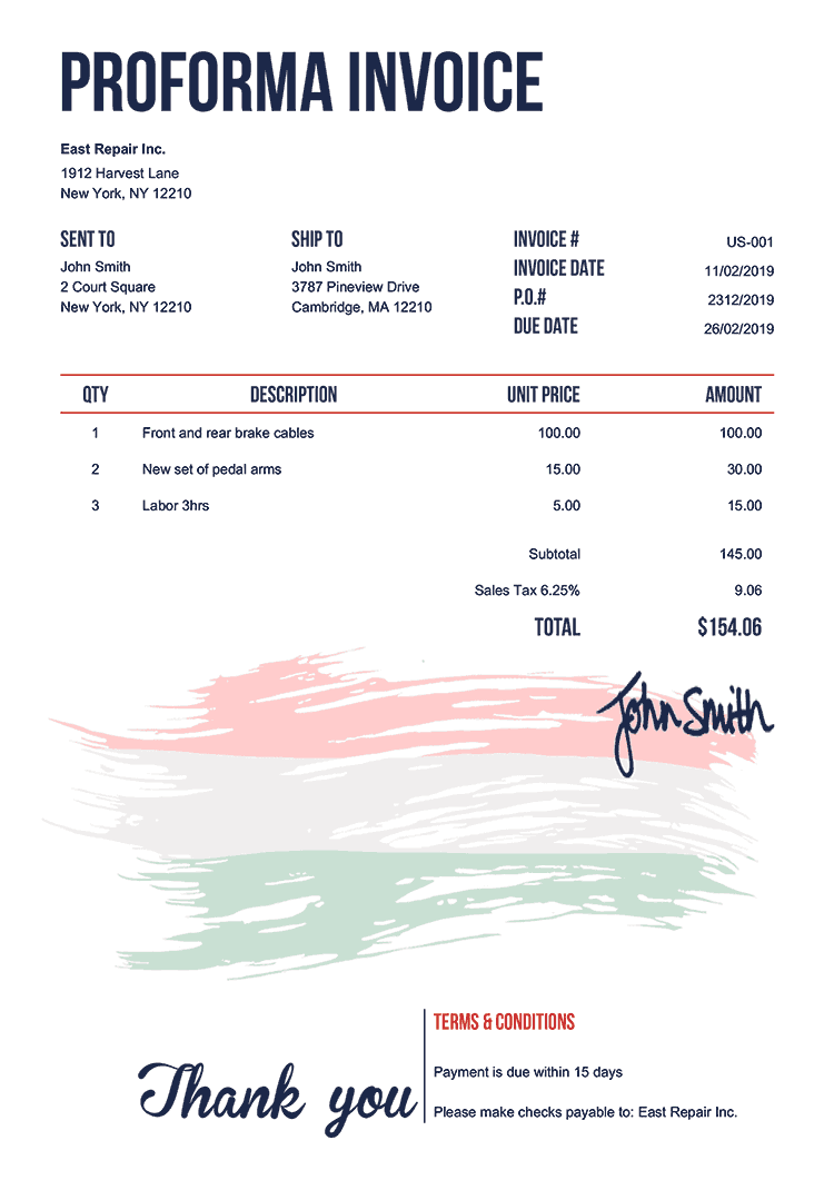 Proforma Invoice Template Us Flag Of Hungary