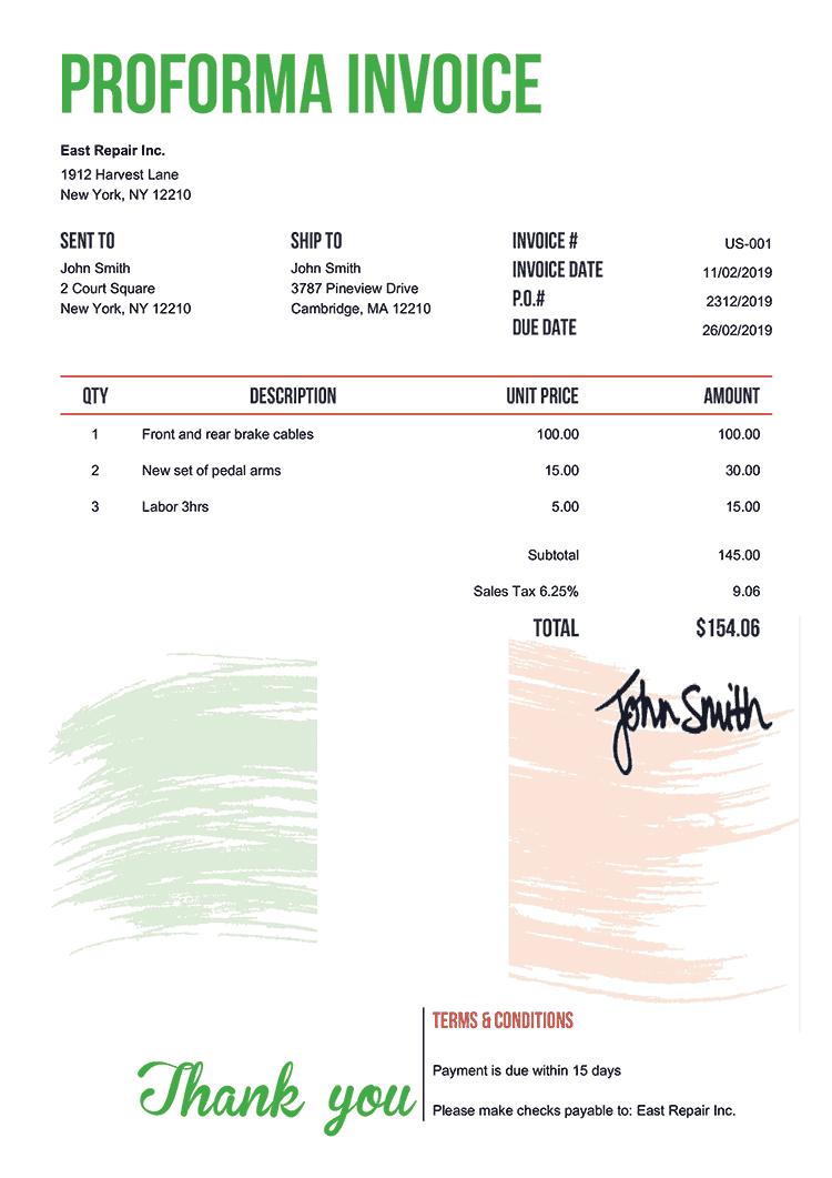 Proforma Invoice Template Us Flag Of Ireland