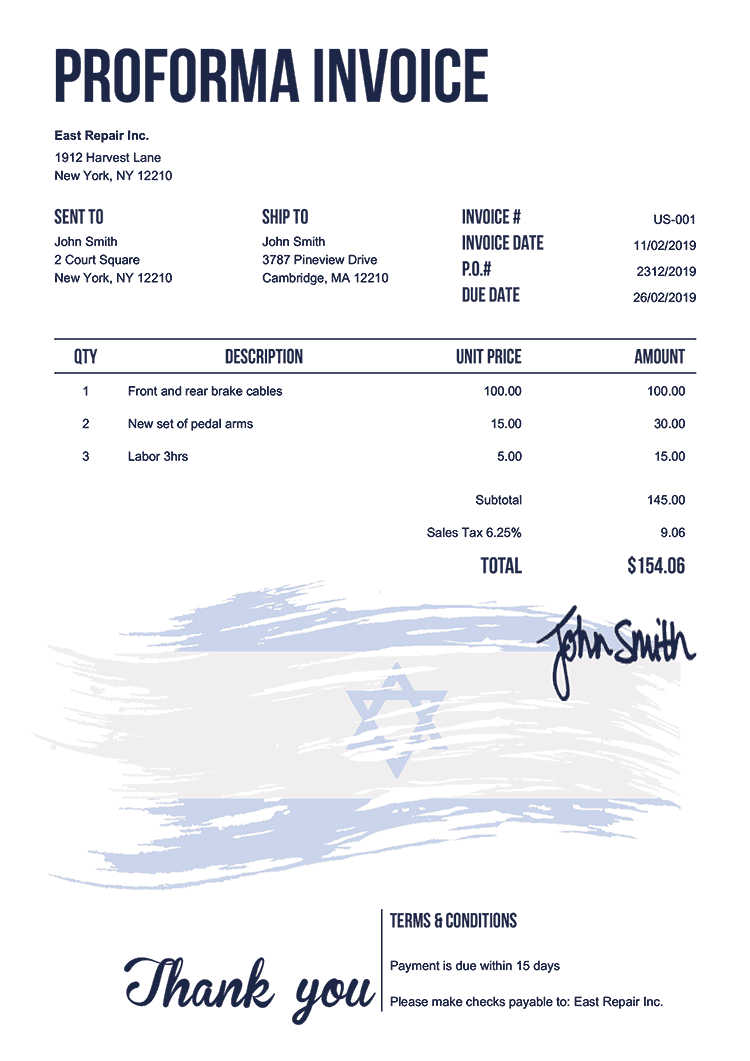 Proforma Invoice Template Us Flag Of Israel