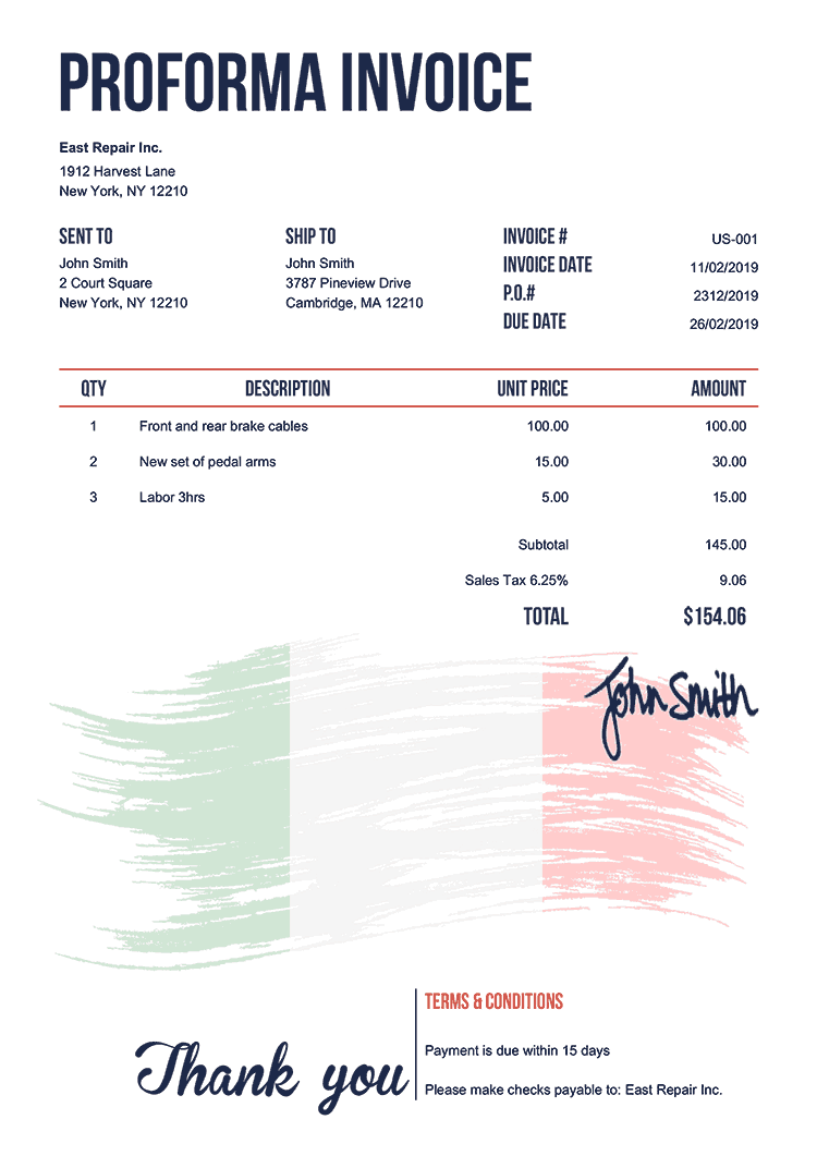 Proforma Invoice Template Us Flag Of Italy