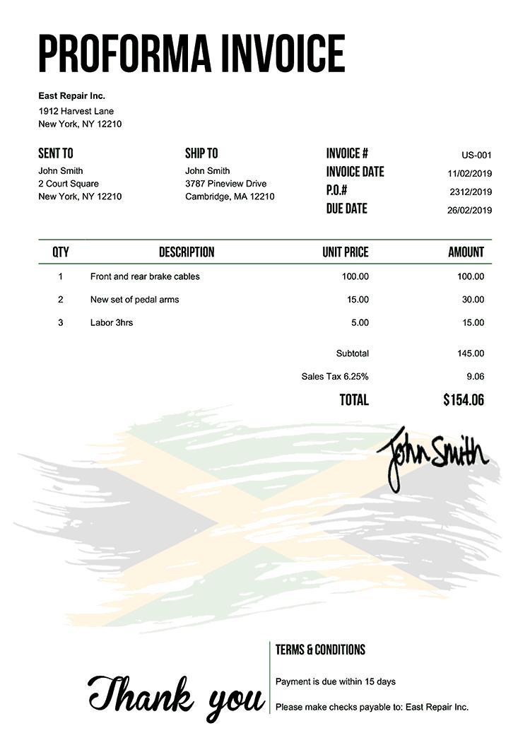 Proforma Invoice Template Us Flag Of Jamaica