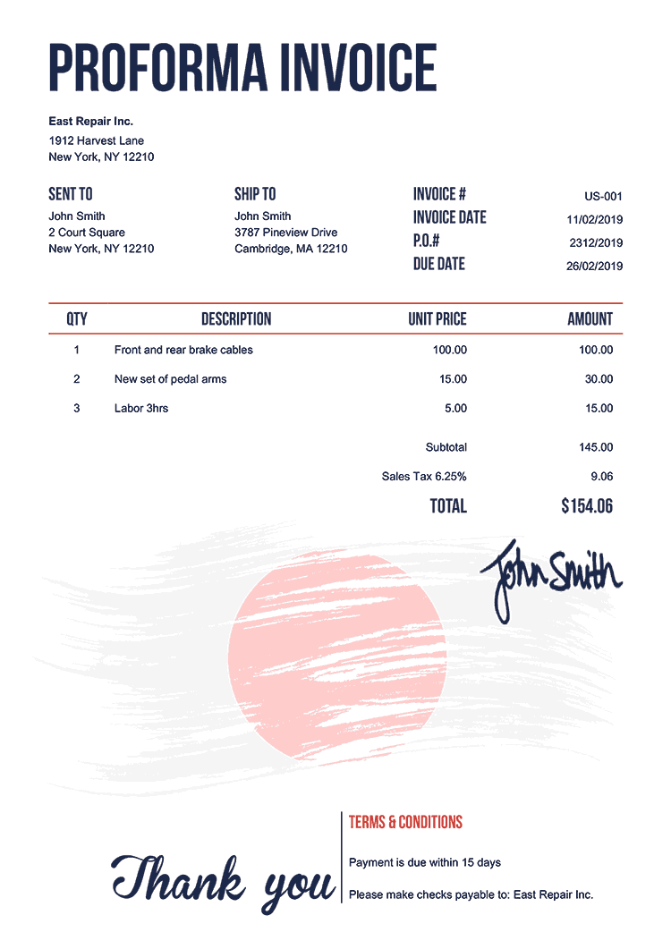 Proforma Invoice Template Us Flag Of Japan