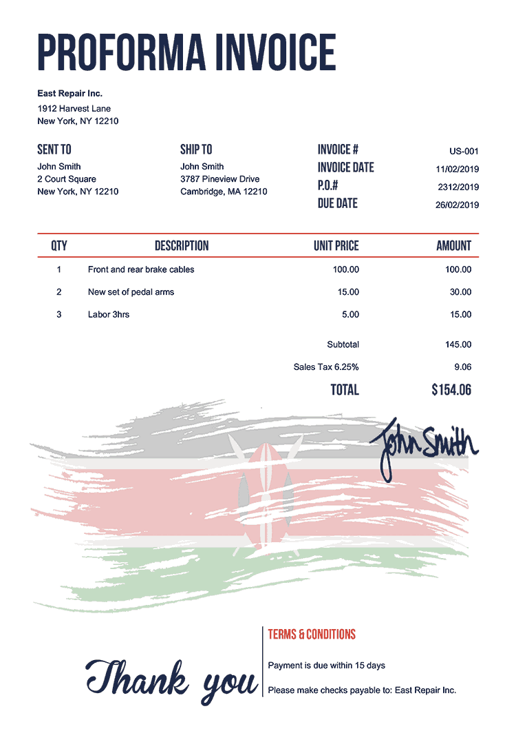 Proforma Invoice Template Us Flag Of Kenya