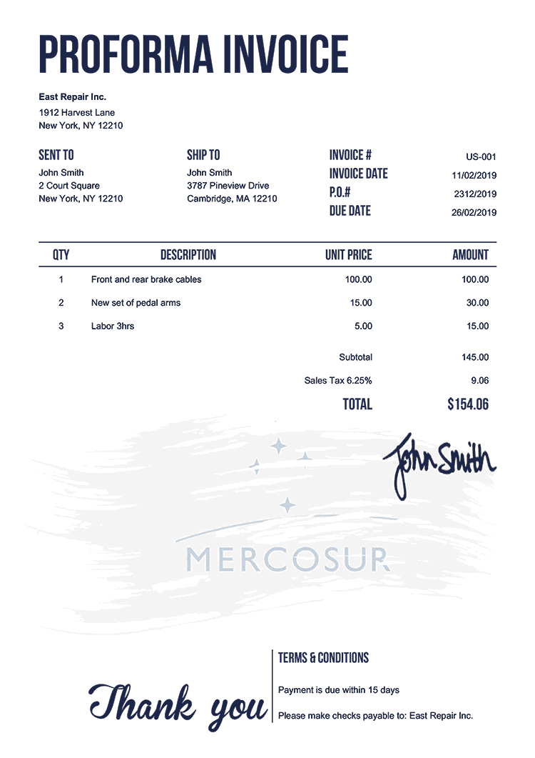 Proforma Invoice Template Us Flag Of Mercosur