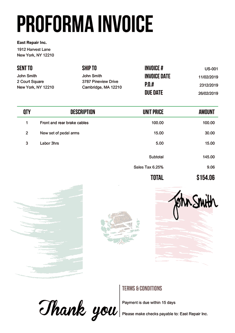 Proforma Invoice Template Us Flag Of Mexico