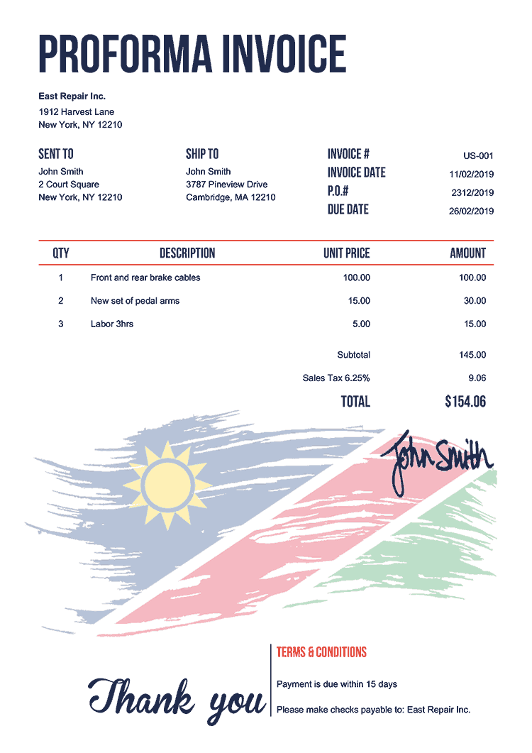 Proforma Invoice Template Us Flag Of Namibia