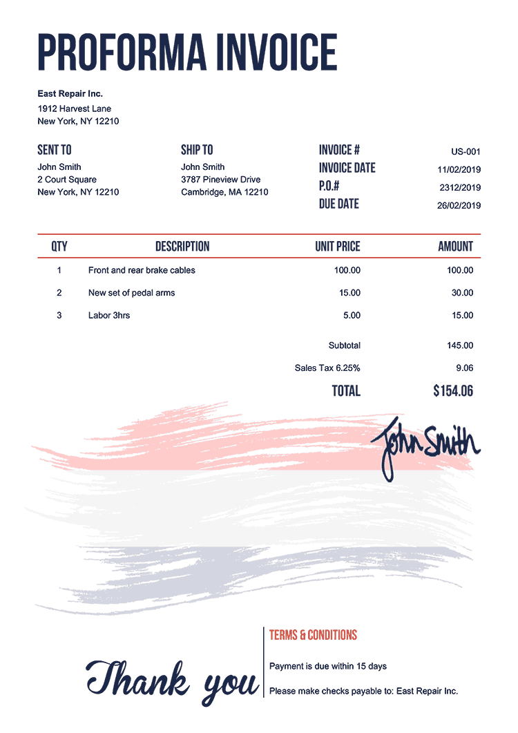 Proforma Invoice Template Us Flag Of Netherlands