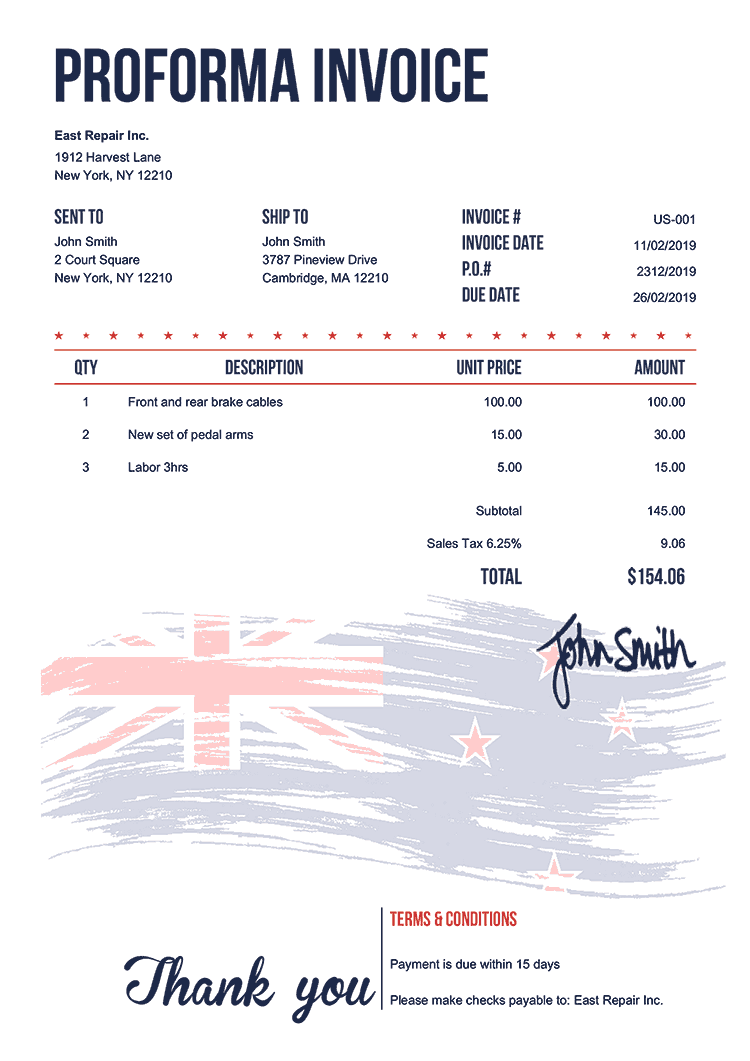 Proforma Invoice Template Us Flag Of New Zealand