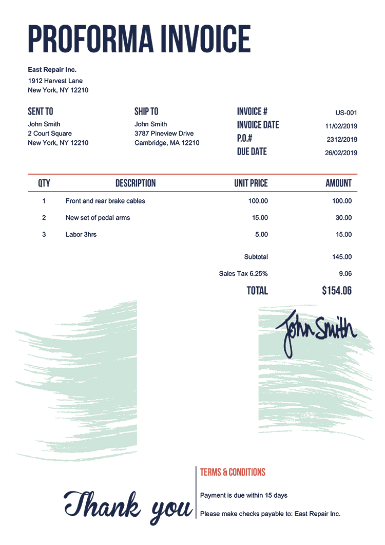 Proforma Invoice Template Us Flag Of Nigeria