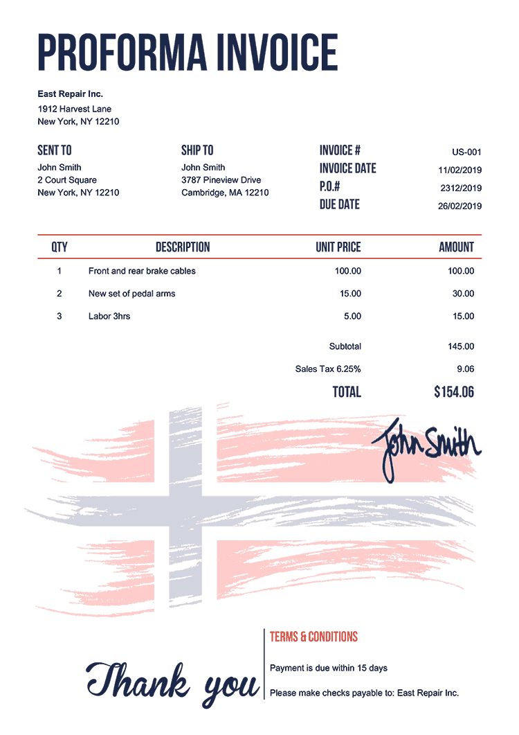 Proforma Invoice Template Us Flag Of Norway