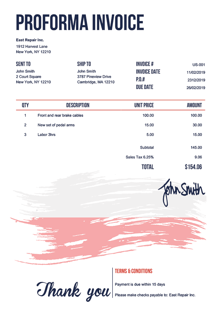 Proforma Invoice Template Us Flag Of Poland