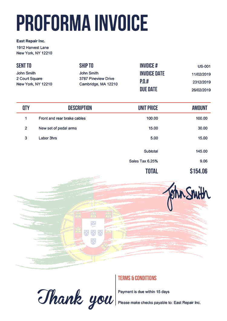 Proforma Invoice Template Us Flag Of Portugal