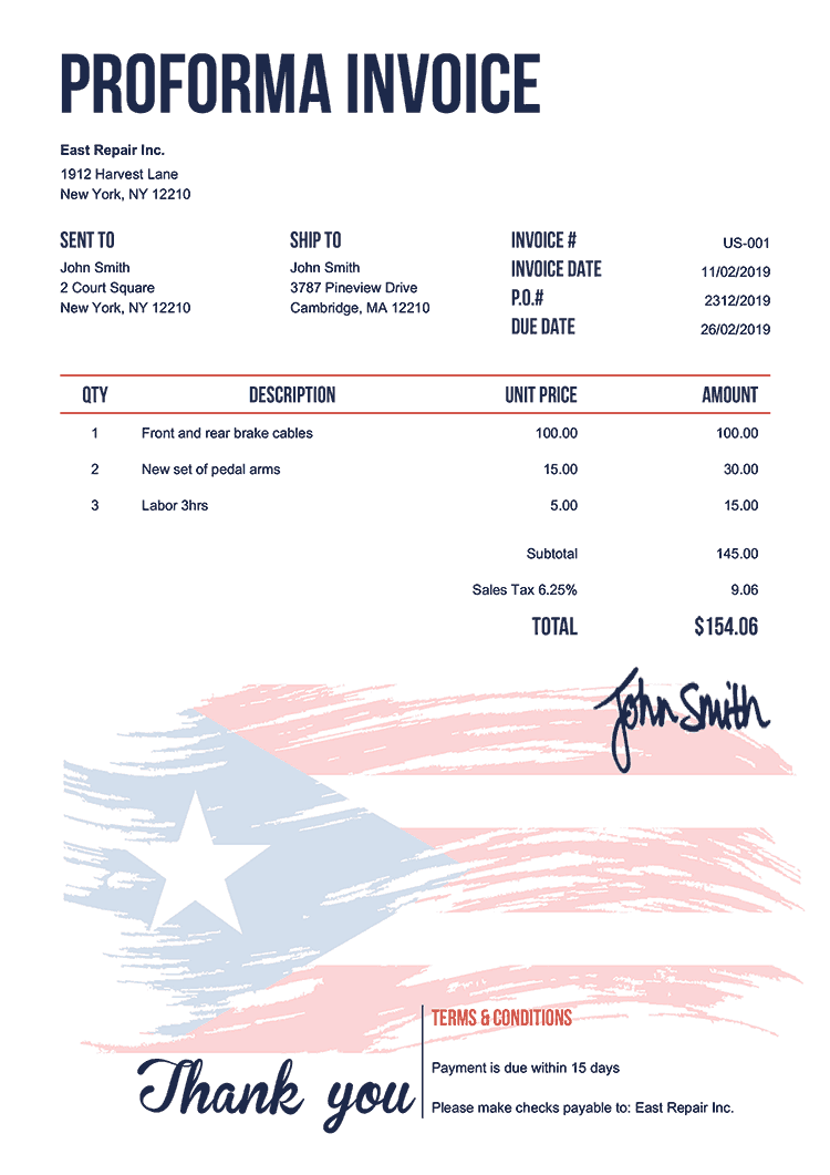 Proforma Invoice Template Us Flag Of Puerto Rico