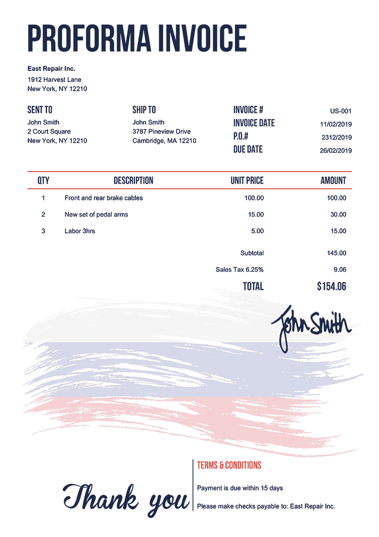 Proforma Invoice Template Us Flag Of Russia