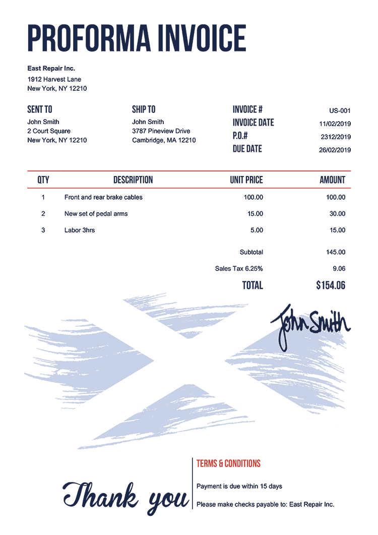 Proforma Invoice Template Us Flag Of Scotland