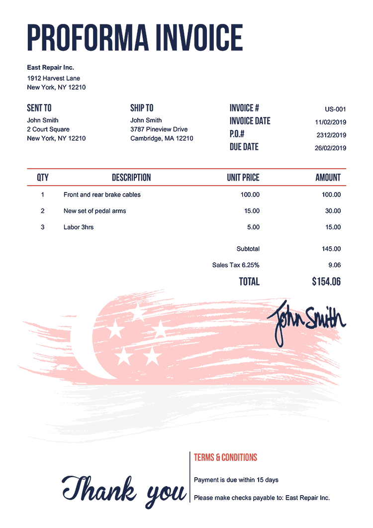 Proforma Invoice Template Us Flag Of Singapore