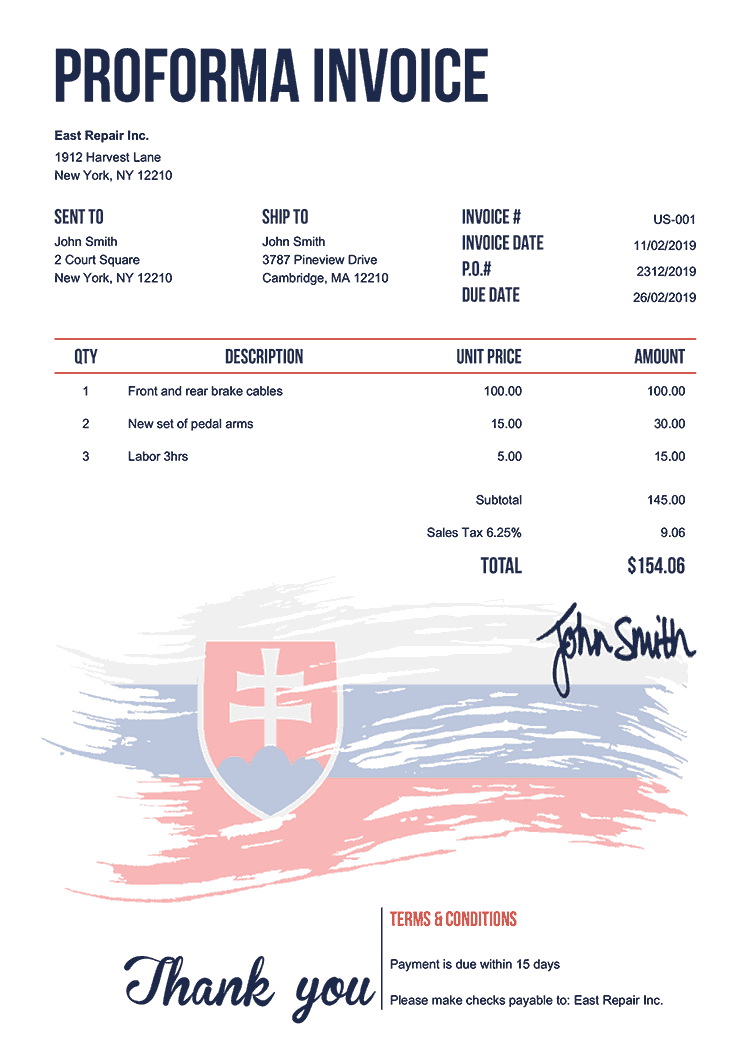 Proforma Invoice Template Us Flag Of Slovakia