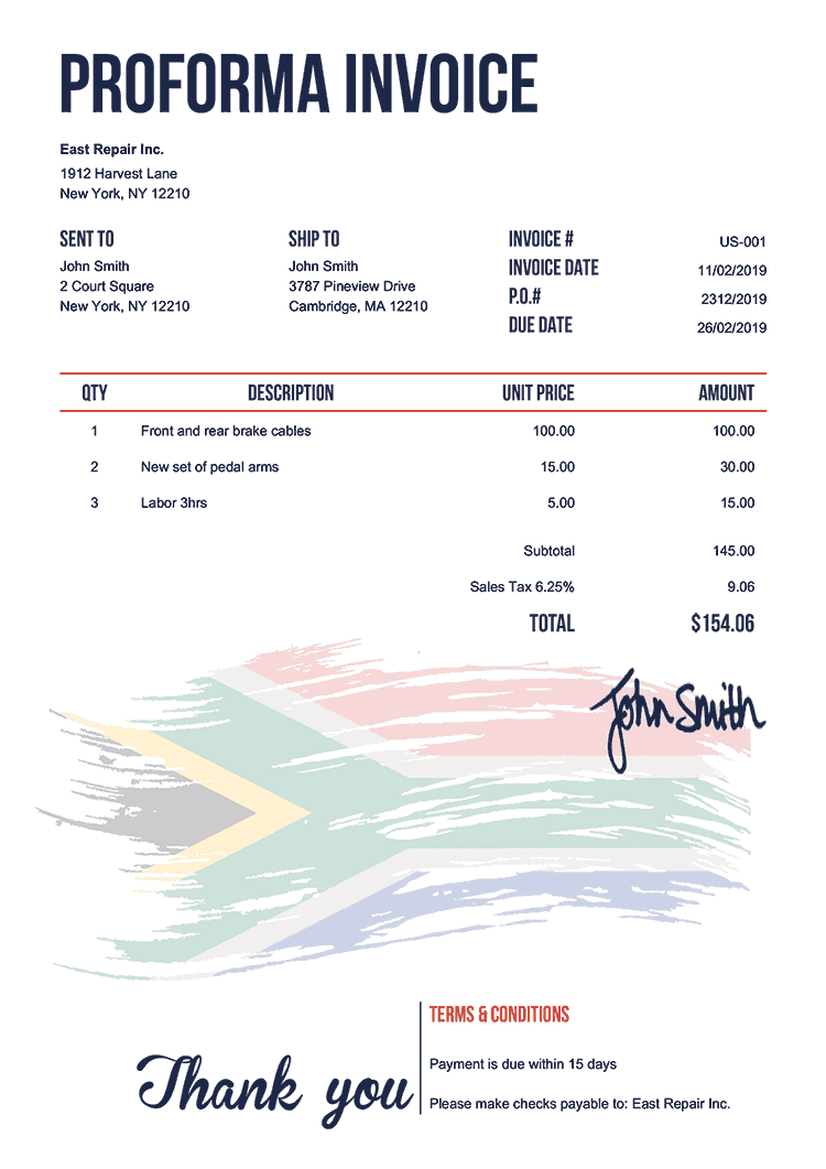 Proforma Invoice Template Us Flag Of South Africa