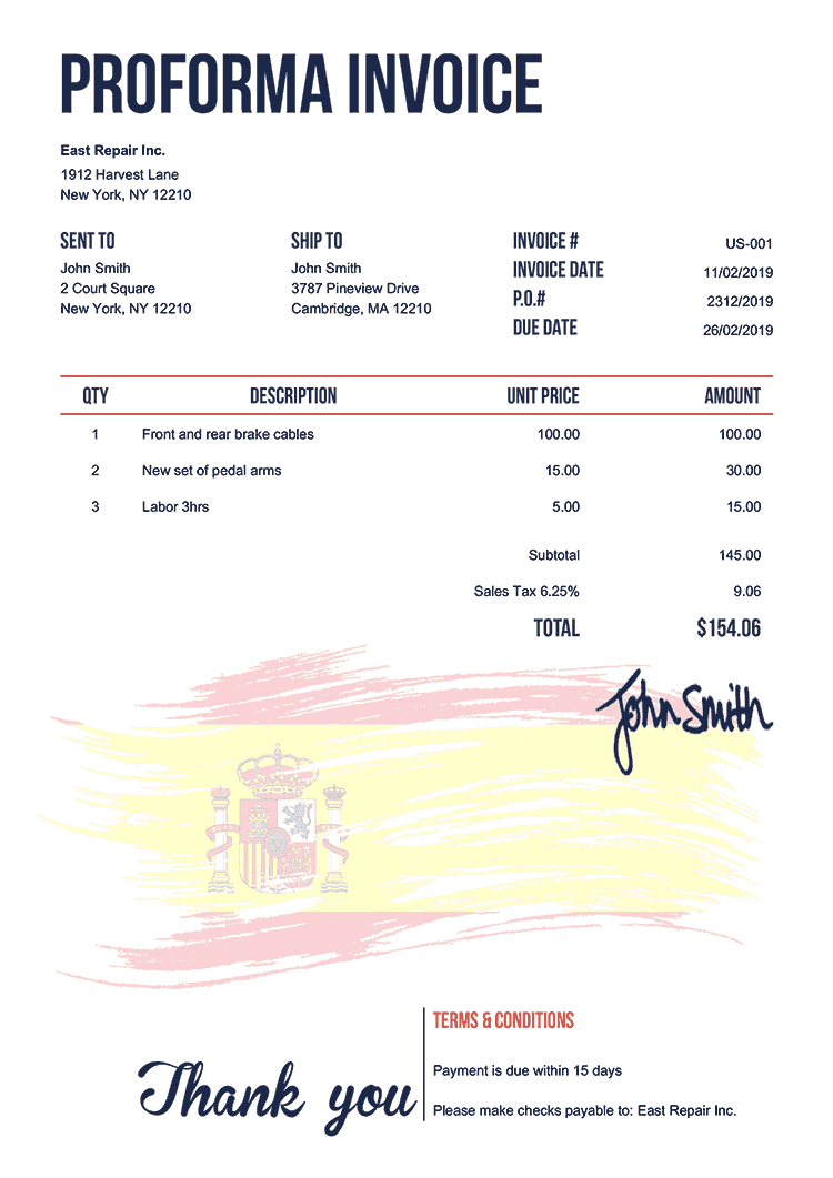 Proforma Invoice Template Us Flag Of Spain
