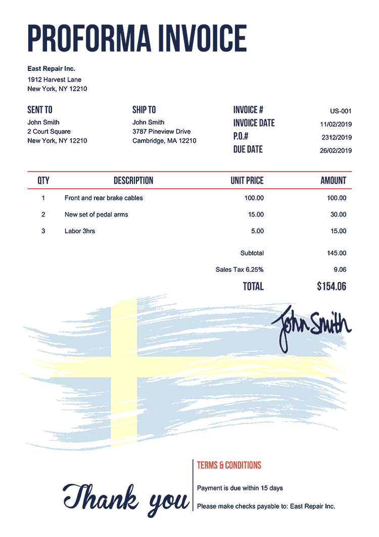 Proforma Invoice Template Us Flag Of Sweden