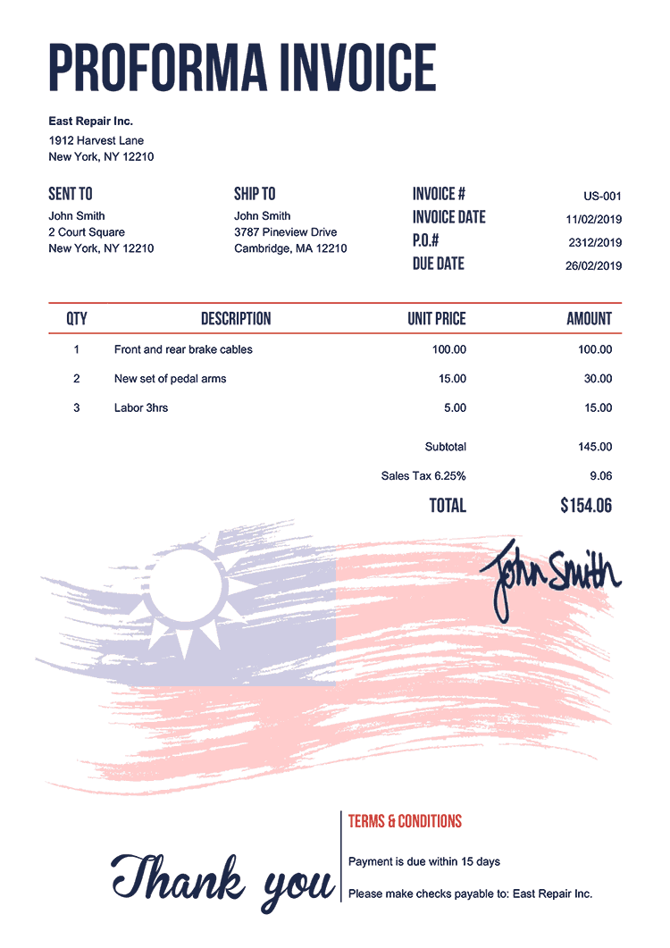 Proforma Invoice Template Us Flag Of Taiwan