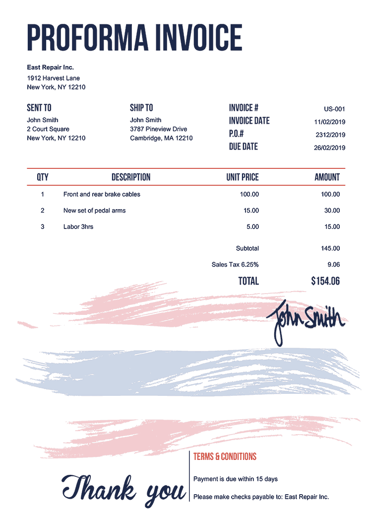 Proforma Invoice Template Us Flag Of Thailand