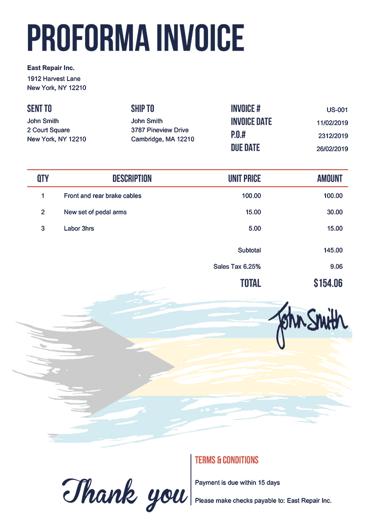Proforma Invoice Template Us Flag Of The Bahamas