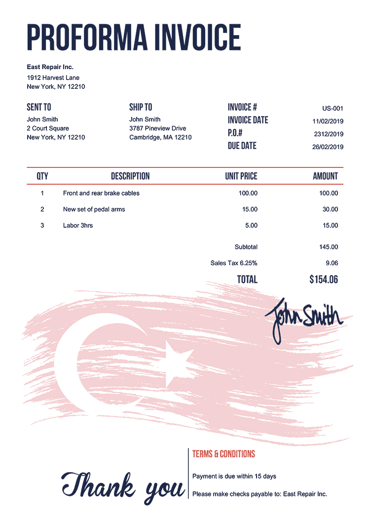 Proforma Invoice Template Us Flag Of Turkey