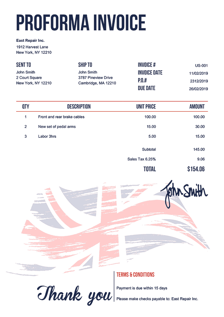 Proforma Invoice Template Us Flag Of United Kingdom
