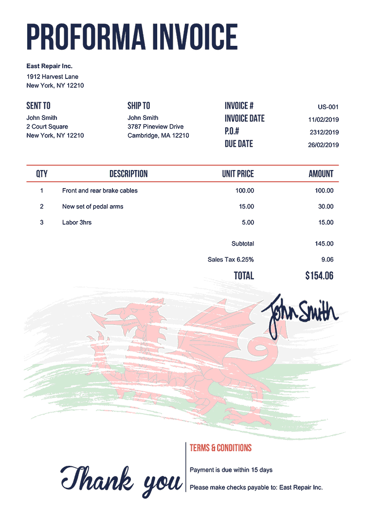 Proforma Invoice Template Us Flag Of Wales
