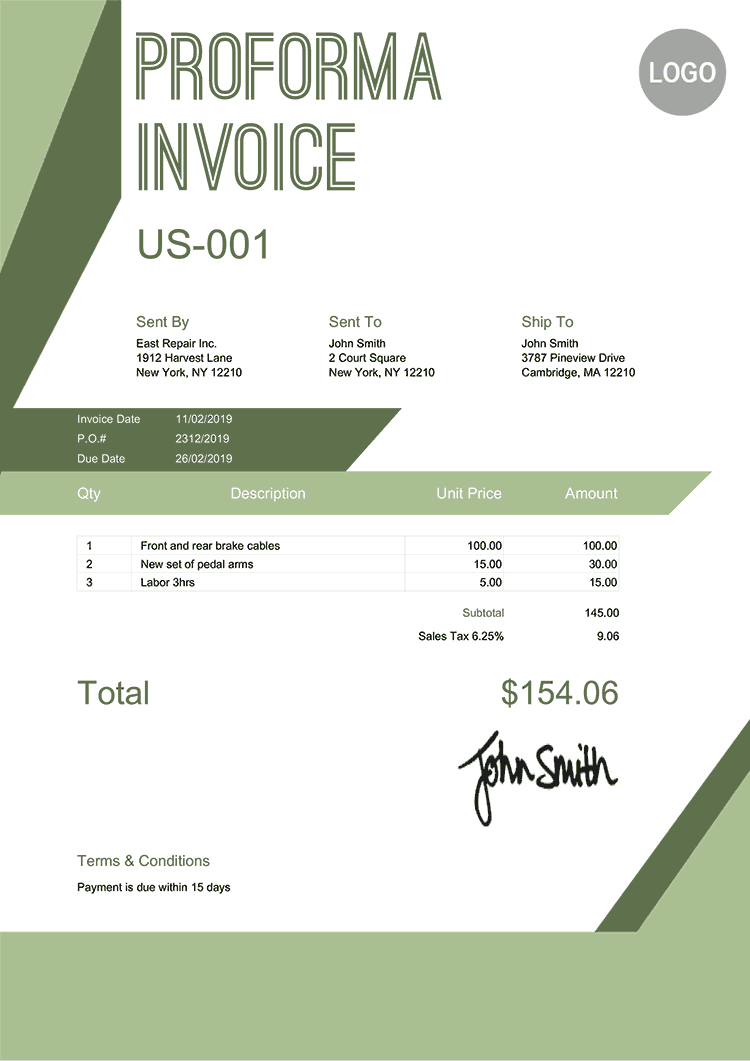 Proforma Invoice Template Us Forest