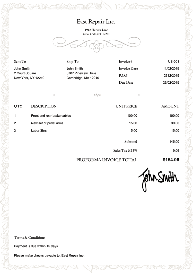Proforma Invoice Template Us Frame