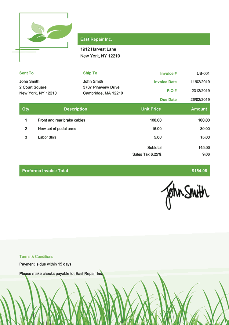 Proforma Invoice Template Us Green Grass