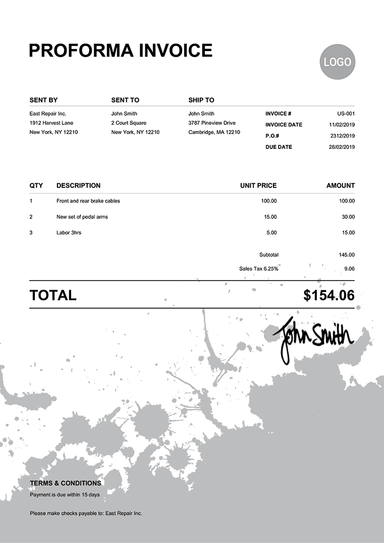 Proforma Invoice Template Us Ink Blot Black