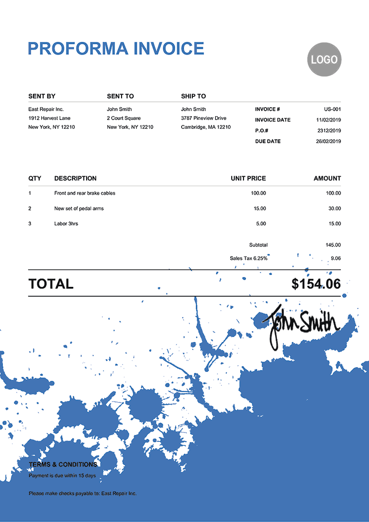 Proforma Invoice Template Us Ink Blot Blue