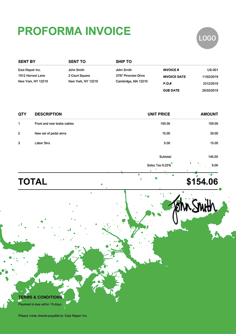 Proforma Invoice Template Us Ink Blot Green