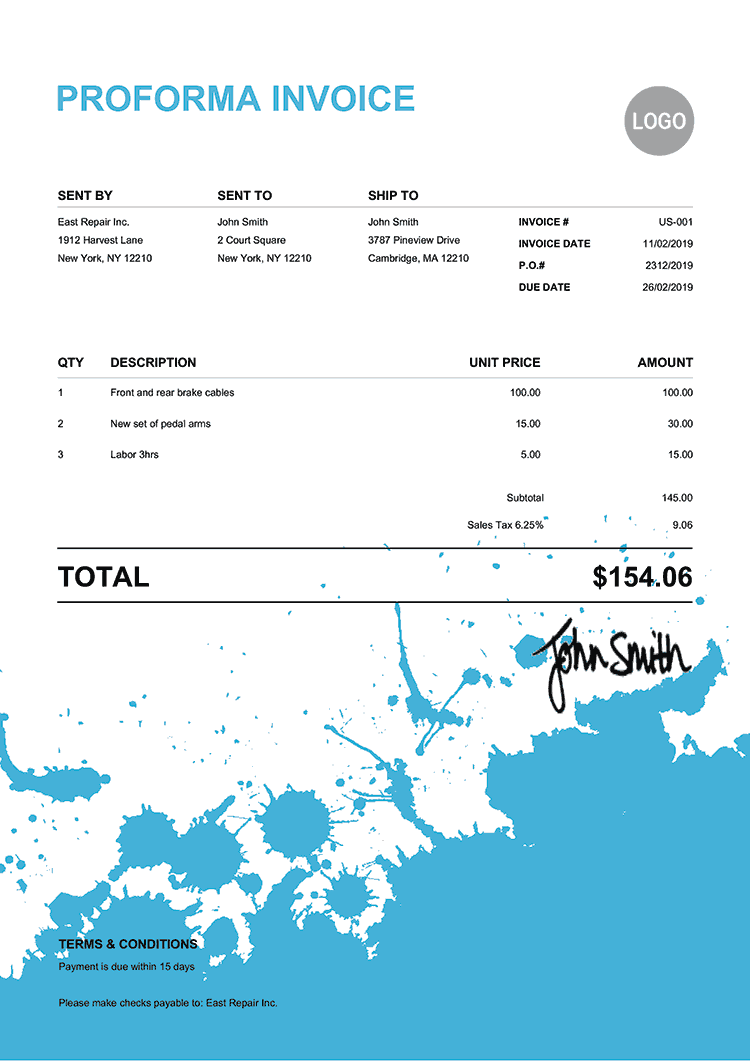 Proforma Invoice Template Us Ink Blot Light Blue