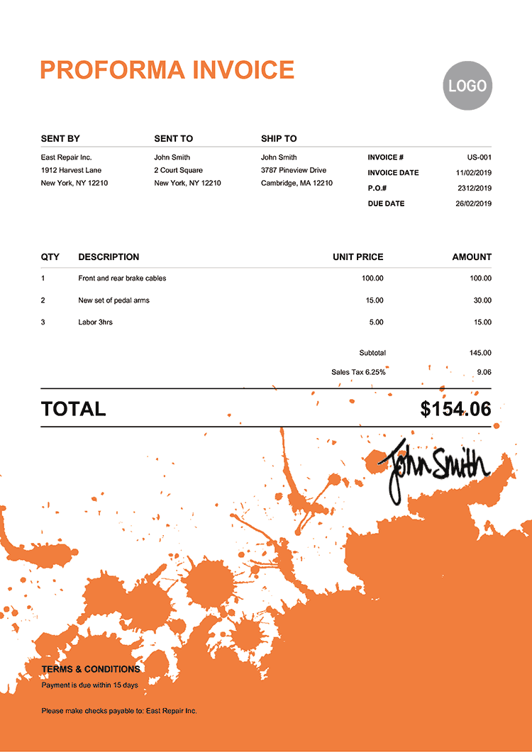 Proforma Invoice Template Us Ink Blot Orange