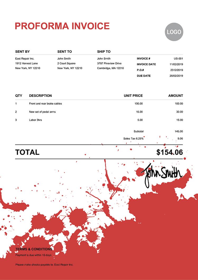 Proforma Invoice Template Us Ink Blot Red
