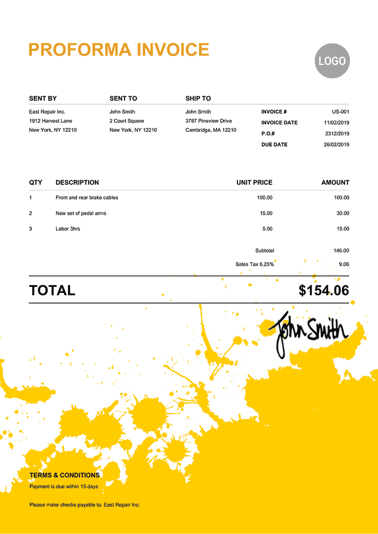 Proforma Invoice Template Us Ink Blot Yellow