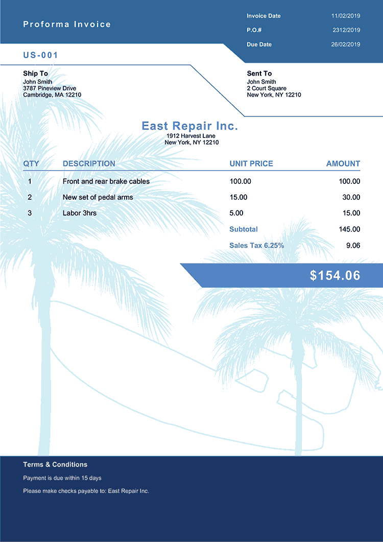 Proforma Invoice Template Us Los Angeles No Logo