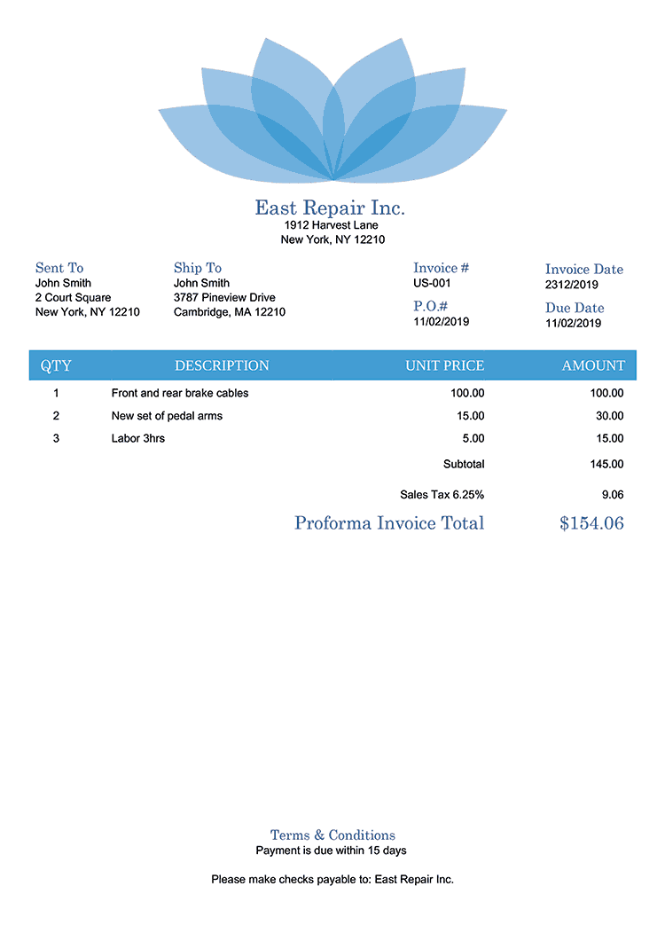 Proforma Invoice Template Us Lotus Blue No Logo