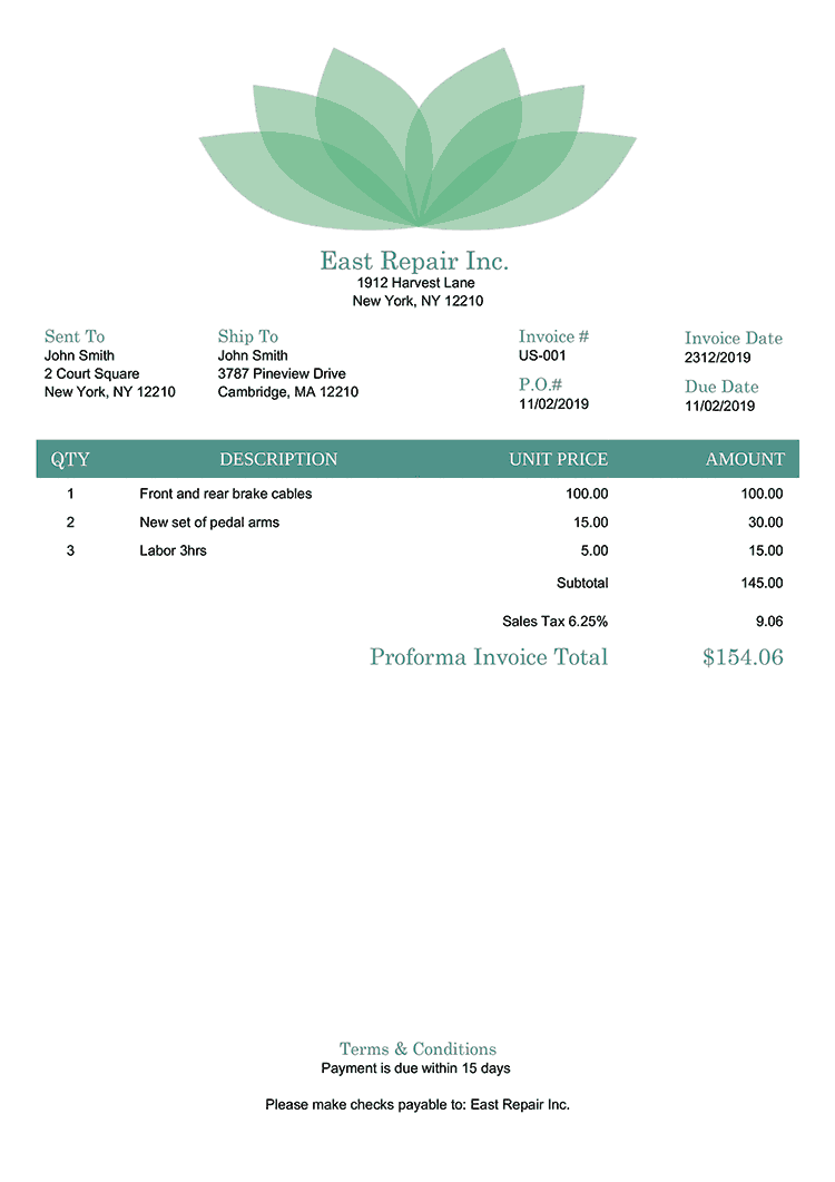 Proforma Invoice Template Us Lotus Green No Logo