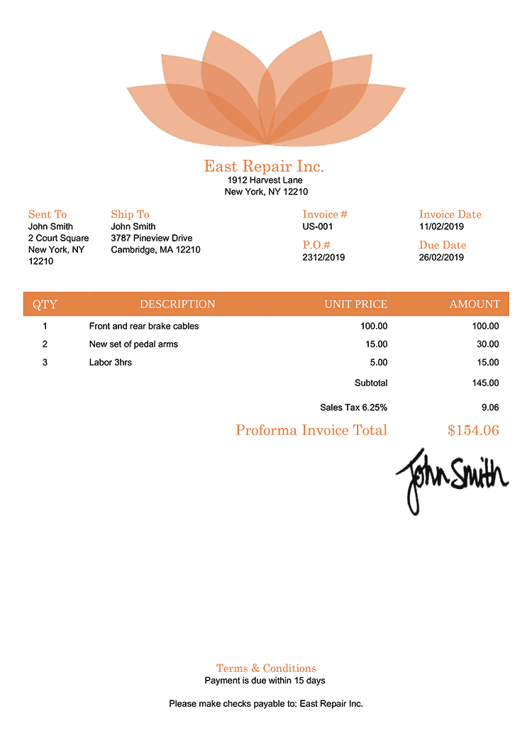 Proforma Invoice Template Us Lotus Orange