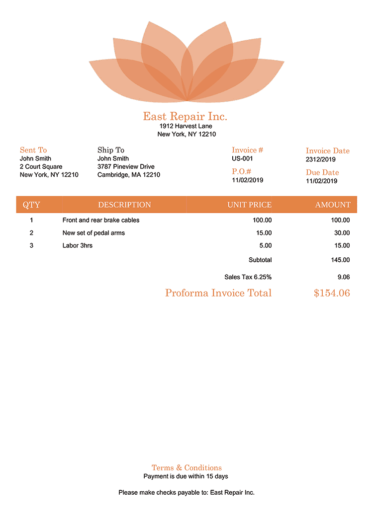 Proforma Invoice Template Us Lotus Orange No Logo